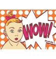 Wow Pop art poster with child Eps 10 on vector image