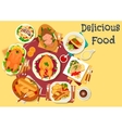 Meat and fish dishes icon for festive menu design vector image