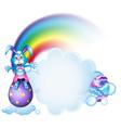 A bunny above the egg near the rainbow vector image vector image