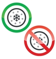 Snow permission signs vector image