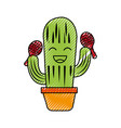 cartoon happy potted cactus with maracas vector image