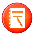 Closed spiral notebook and pen icon flat style vector image