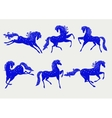 Collection of blue horses vector image