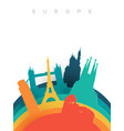 travel europe 3d paper cut world landmarks vector image