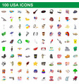 100 usa icons set cartoon style vector image