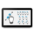 Tablet pc with touch screen gestures vector image vector image
