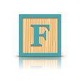 letter F wooden alphabet block vector image