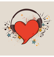 Musical background with red heart vector image vector image