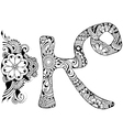 letter K decorated in the style of mehndi vector image vector image