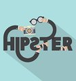 Camera And Eyeglasses In Hand With Hipster vector image