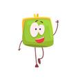 cute smiling purse character waving its hand vector image