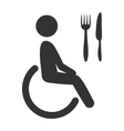 Disability man pictogram flat icon cafe isolated vector image