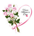 happy mothers day note with colorful roses and vector image