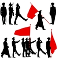 Silhouette military people with flags collection vector image