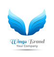 Wings blue logo template business icon Corporate vector image
