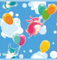 seamless pattern with funny bunnies on a vector image