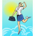 pop art of happy businesswoman vector image