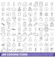 100 cooking icons set outline style vector image