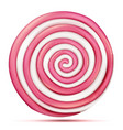 round pink lollipop isolated classic sweet vector image