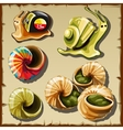 Set of snails icons of garden and toy creatures vector image