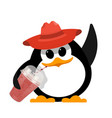 color image of a small cute penguin in a red hat vector image