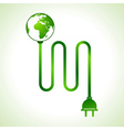 Earth globe with power cable vector image