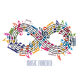 Forever music concept infinity symbol made with vector image