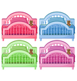 Four colorful beds vector image