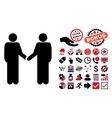 Persons Handshake Flat Icon with Bonus vector image