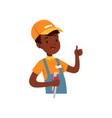 plumber character african american boy in uniform vector image