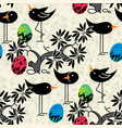 seamless pattern cute birds eggs on textured vector image