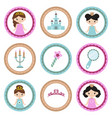 set of tags with princess theme set of tags with vector image