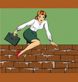 woman climbing over fence vector image