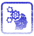 brain mechanics framed textured icon vector image