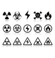 Danger attention icons set vector image vector image