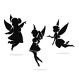 silhouettes of little fairies vector image vector image
