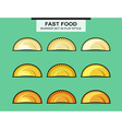 Set of chebureks in flat style with an inking vector image