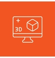 Computer monitor with 3D box line icon vector image