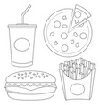 black and white fast food icon set vector image