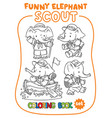 little baby elephant scout coloring book set vector image