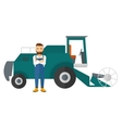 Man standing with combine on background vector image