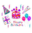 set of realistic birthday party objects vector image