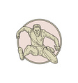 Track and Field Athlete Hurdle Circle Mono Line vector image