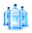 Three big bottles of water for cooler vector image