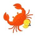 Crab with lemon Fresh seafood vector image