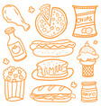 doodle of fast food set various vector image