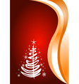 Red Christmas background with tree vector image vector image