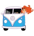 Hippie Girl Riding Vintage Blue Van Cartoon vector image