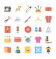 a flat icon set of sewing tools vector image
