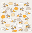 funny mosquitoes texture children vector image